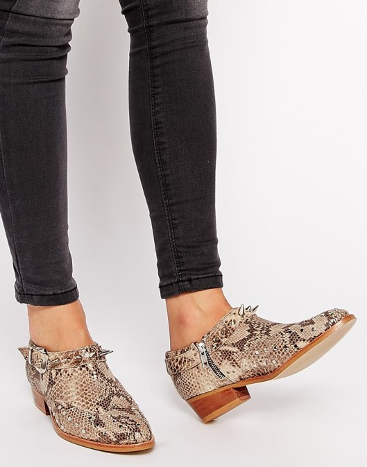 ankle boots, brown, snake skin patter, spike detail, leather
