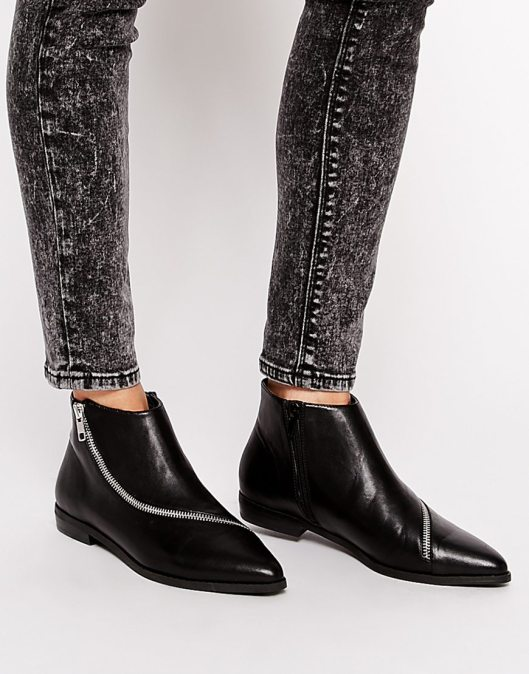 flats, ankle boots, zipper detail