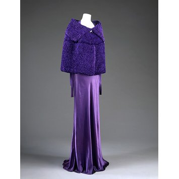 jeanne lanvin, evening dress, silk, velvet, chiffon,purple, 1935