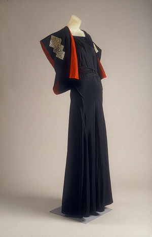 jeanne lanvin, black, silk taffeta with metal plaques, bolero, kimono interpretive , 1934