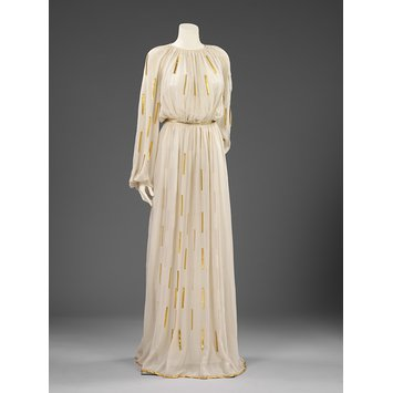 jeanne lanvin, 1936, silk, chiffon, leather evening gown