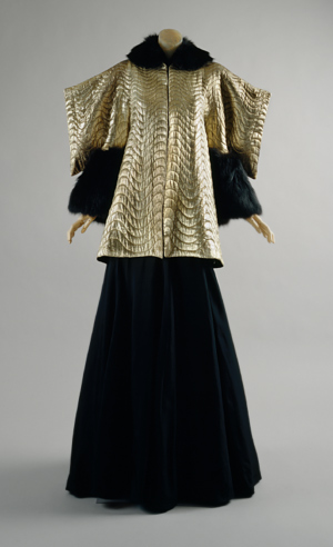 jeanne lanvin, black, fox trim genghis khan element 1936