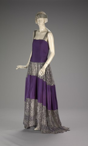jeanne lanvin, Winter 22/23, sil, silver lame, purple, colour block full length dress