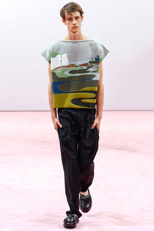 jw  anderson, ss15  graphic, textured top, cap sleeves