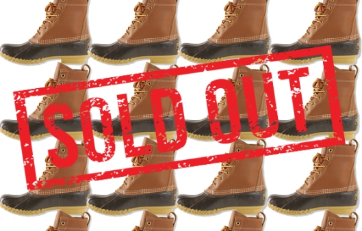 L.L. Bean, duck shoes, sold out poster