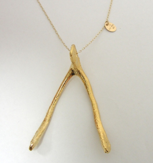 jewellery, KFC bones, wishbone necklace, 14kt gold plated by Meg Carroll