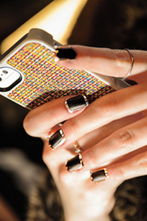 nail beauty, black, gold borders