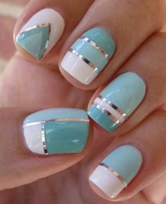 nail beauty, patterns, turquoise/white /silver