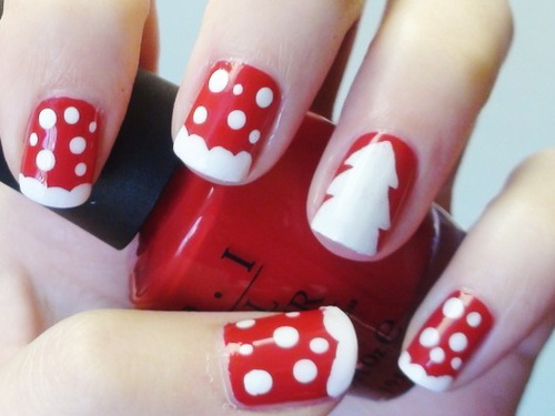nail beauty, red/white peppermint