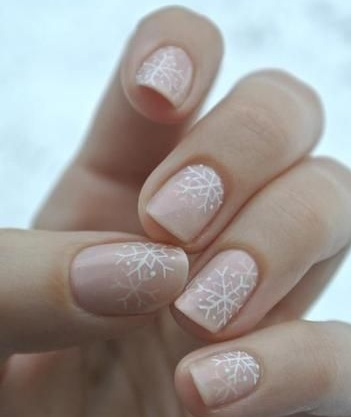 nail beauty, snowflakes