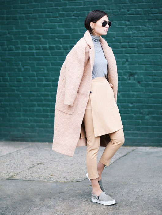 pale peach, trousers with split skirt