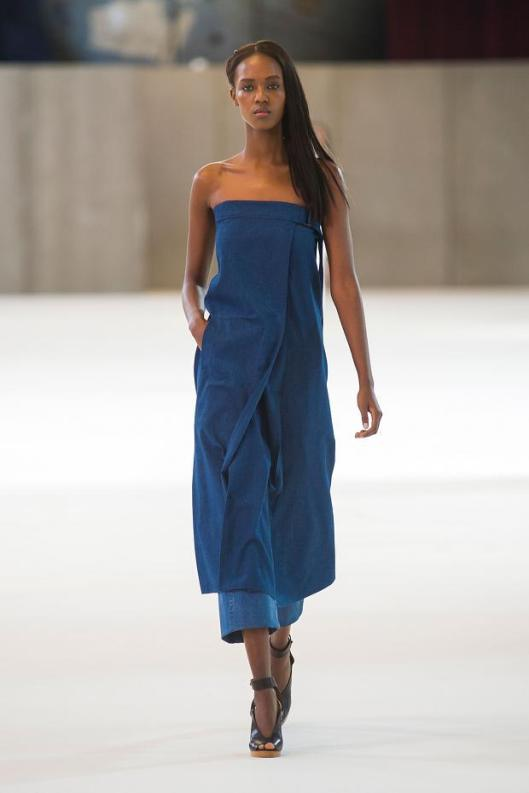 spring 2015, denim, christopher lemaire, strapless dress/top