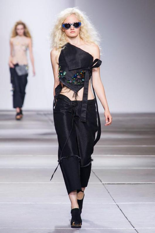spring 2015, denim marques almeida, black halter top/matchimg trousers