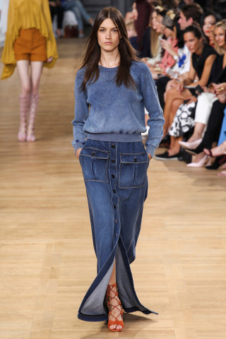 denim, maxi skirt, chloe, spring  2015