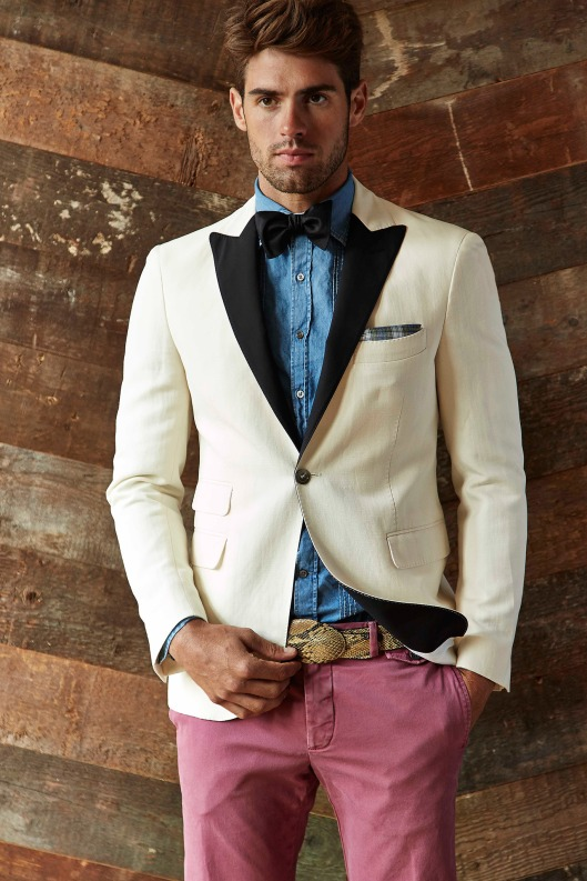 spring 2015, denim, michael bastian, men, shirt/tux jacket/bow tie