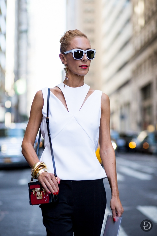 accessorize me, white frame sunnies, box bag, gold bangles