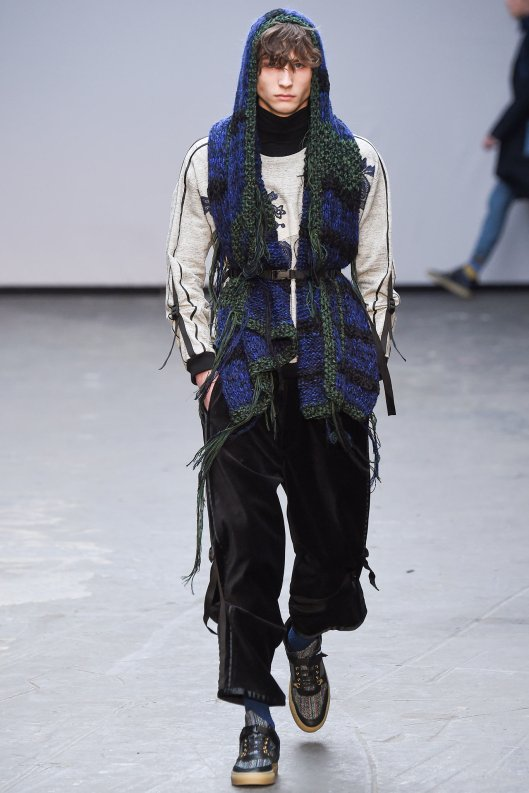 fall 2015, men, james long, belted jacket, long scarf styling