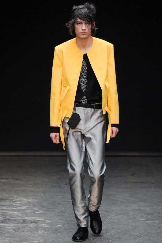fall 2015, men lee roach yellow jacket, silver trousers