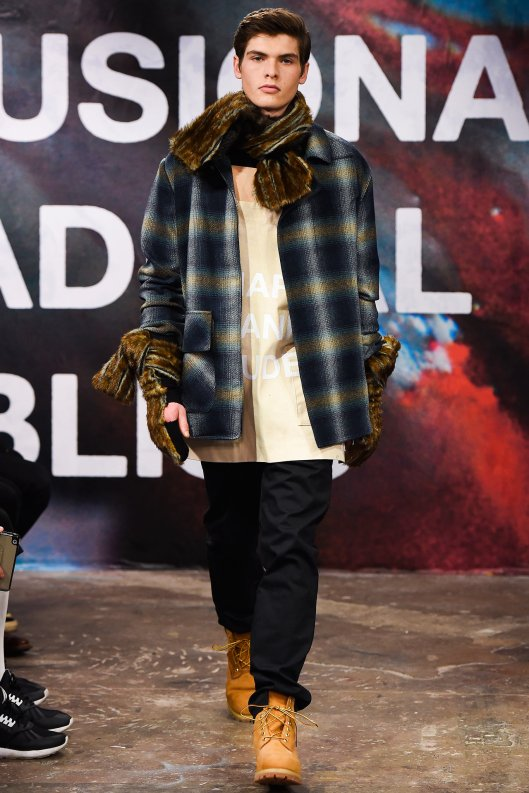 Fall 2015, shaun samson, plaid jacket, apron shirt