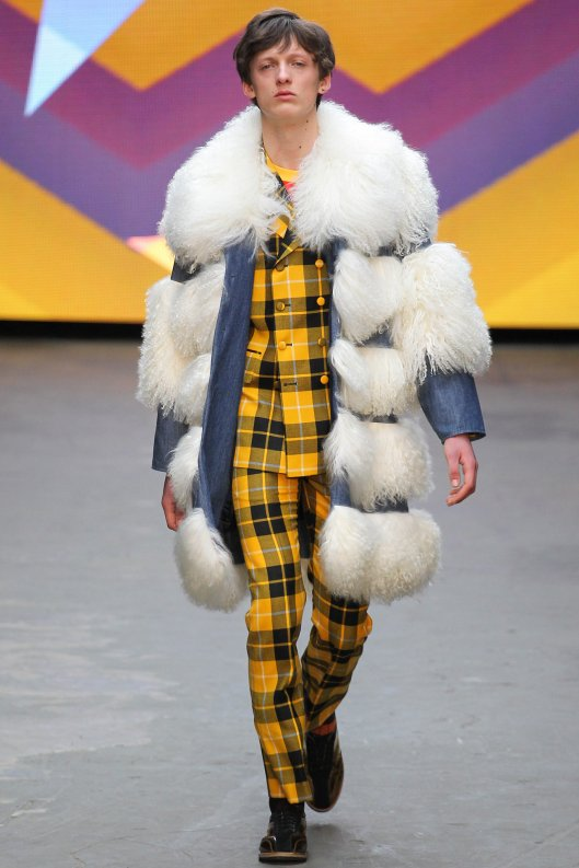 fall 2015, men, topman design, yellow plaid suit, fuzzy overcoat