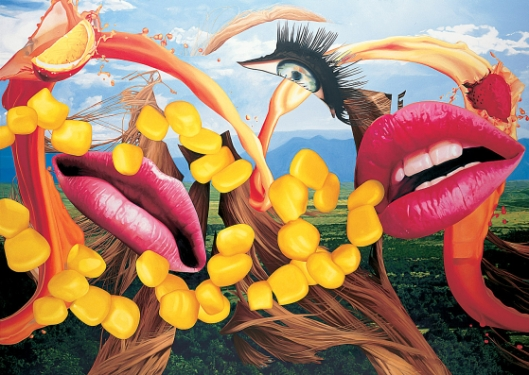 jeff koons, oil painting, lips 200