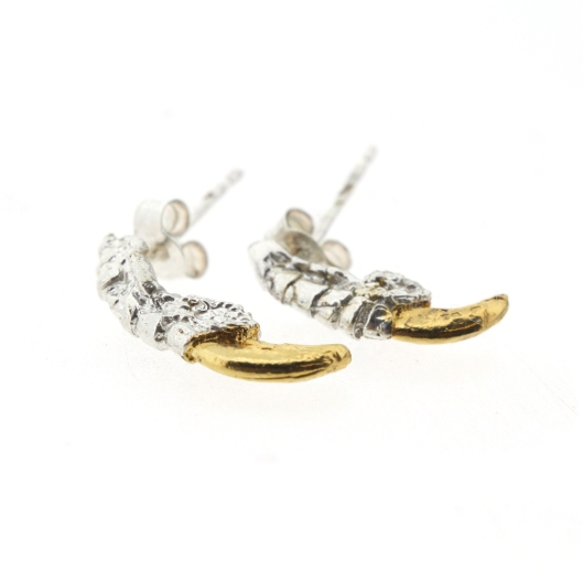 earrings, tessa metcalf, gold/silver talons