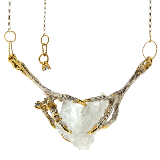 jewellery, tessa metcalf, necklace, aquamarine crystal,