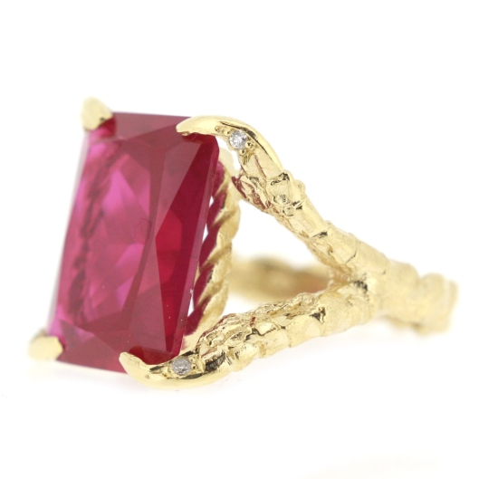 jewellery, ring, tessa metcalf, ruby diamond 18 ct gold engagement ring