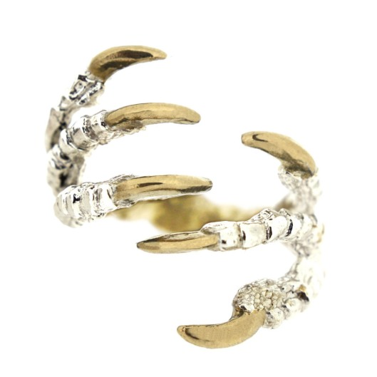 jewellery, ring, tessa metcalf, pigeon clasp claw ring, gold tallons