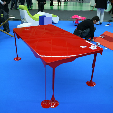 john nouansesing, red paint drip table