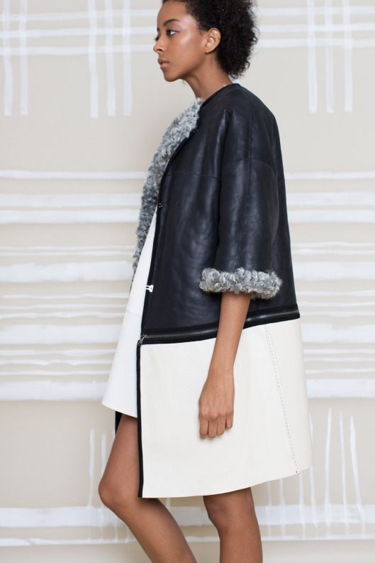 m patmos, prefall 2015, b/w colour block coat