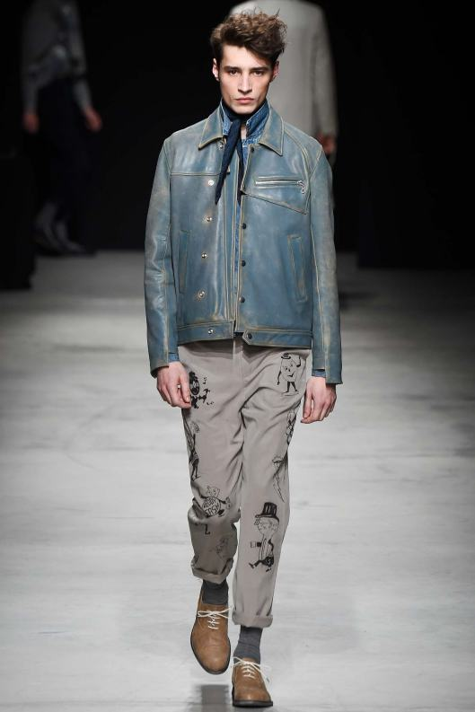 paris, men, fall 2015, denim look leather jacket, miharayasuhiro
