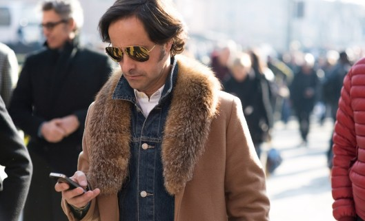 pitti uomo, fall 2015, denim inner, fur collar coat outer
