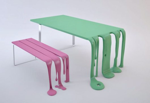 florent degourc, smooth and smoothie table bench, drip paint