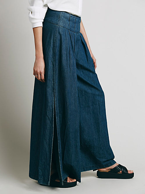 wide leg trousers with thigh high split, denim , free people