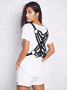 harness vest over tee, s15, intricate