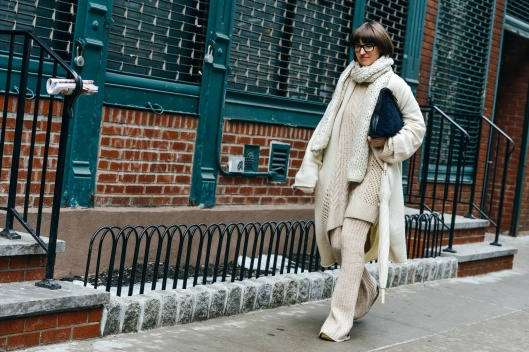 winter white, head to toe knitwear, photo by tommy ton