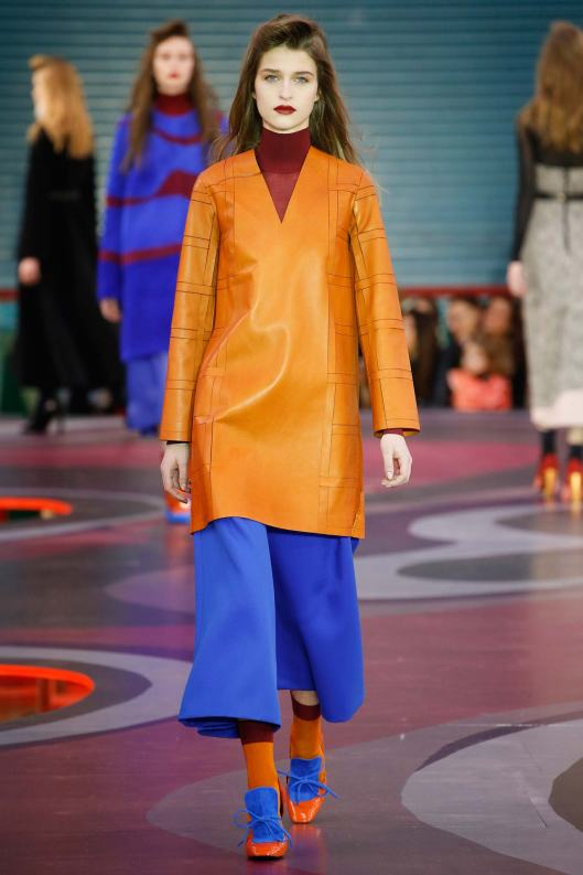 roksanda, a15, mustard leather top,  blue culottes