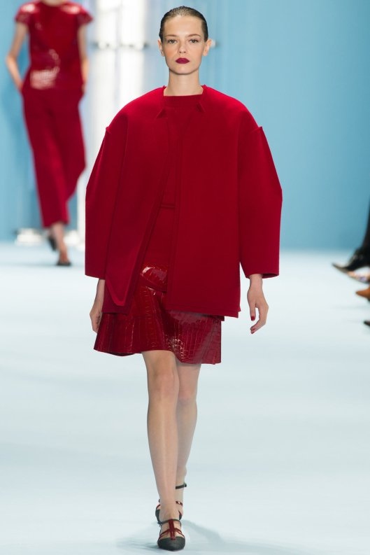 nyfw, a15, carolina herrera, red ensemble, oversize jacket, pronounced sleeves