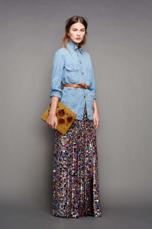NYFW, a15, j-crew, denim shirt,  jewelled maxi skirt -027-1366
