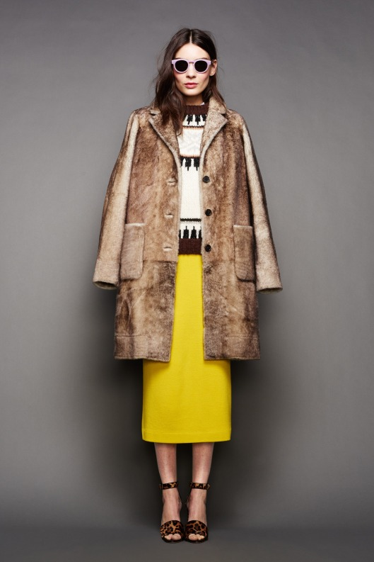 nyfw, a15, j-crew-, lemon yellow skirt, textural overcoat 001-1366