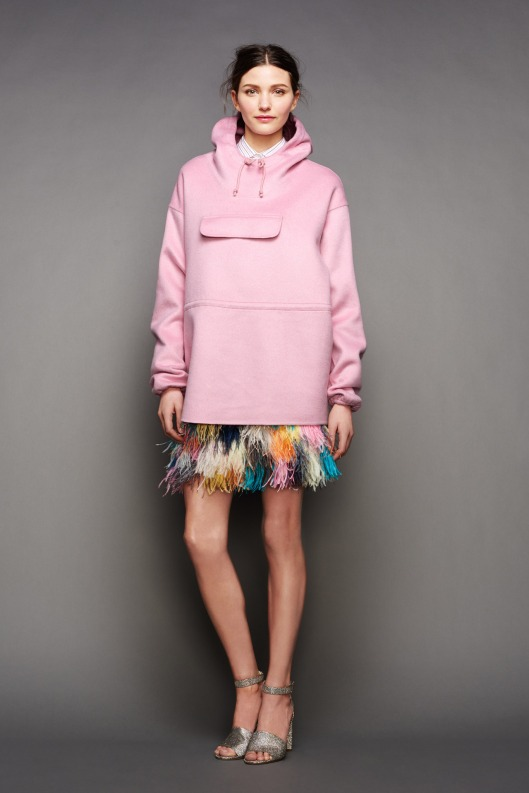 NYFW, a15, j-crew, pink, oversized, drawstring hooded top, flirty skirt -005-1366