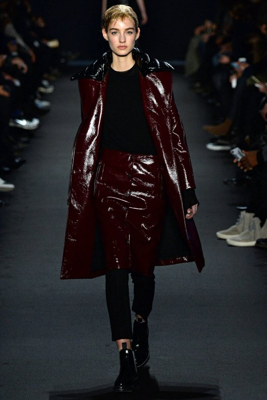 nyfw, a15, rag and bone, burgundy/black leather skirt/coat ensemble