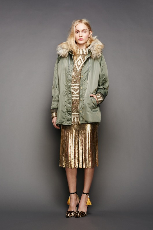 NYFW, j-crew, night and day mix, gold outfit, anorak coat -013-1366