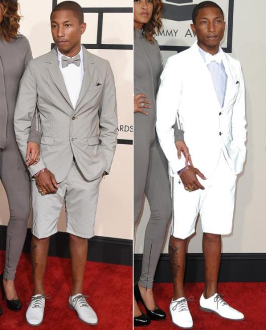 pharell Williams, short trouser glow suit, Grammy Awards 2015
