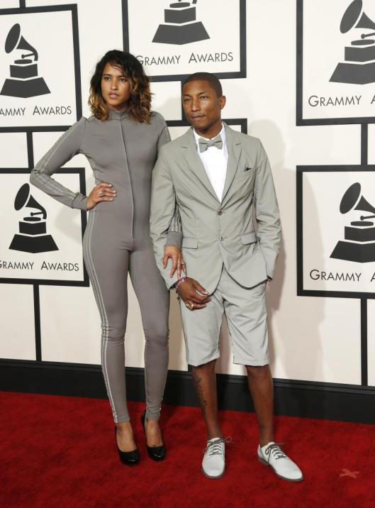 pharrell and wife helen, grammy 2015, adidas wear
