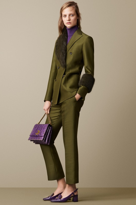 bally, a15, trouser suit, olive, fur lapel