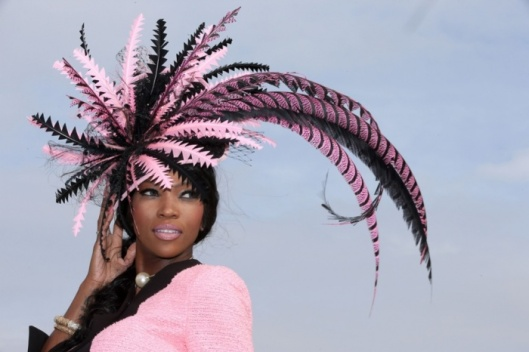 cheltenham, 2015, pink/black feather hat