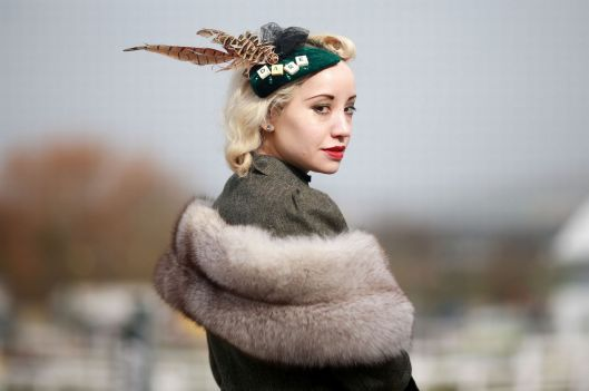 cheltenham, 2015, close up, headpiece with feather, word 'dare'