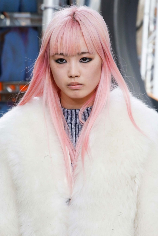 cherry blossom pink hair, louis-vuitton-fall-2015
